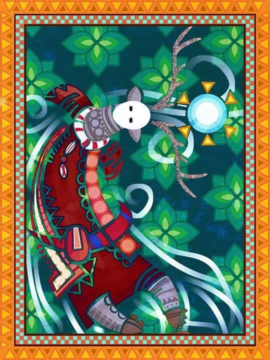 Un bel artwork inspiré de l'art Huichol